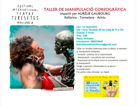 Inscripcions obertes  TALLER DE MANIPULACÓ COREOGRÀFICA